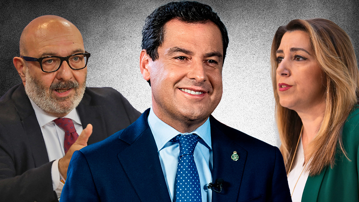 De izquierda a derecha, Alejandro Hernández (Vox Andalucía), Juanma Moreno (PP) y Susana Díaz (PSOE).