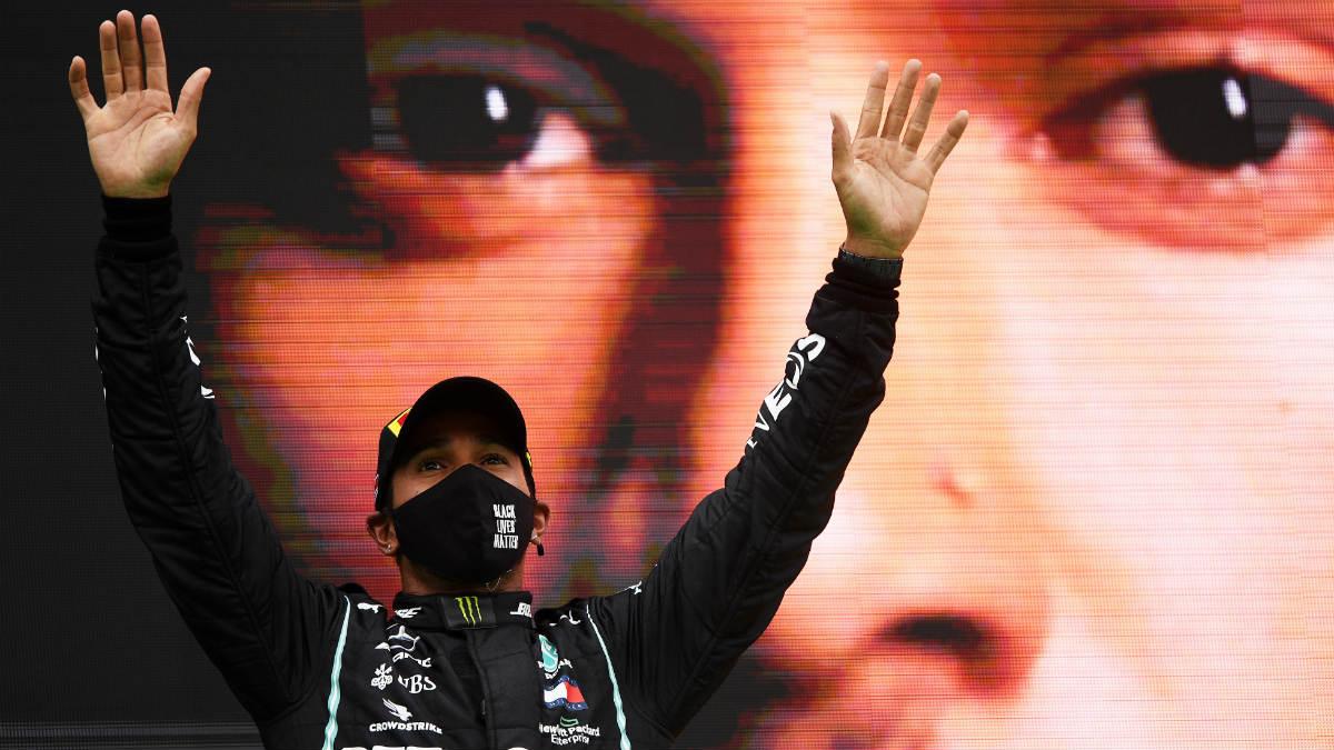 Lewis Hamilton celebra una victoria con Mercedes. (Getty)