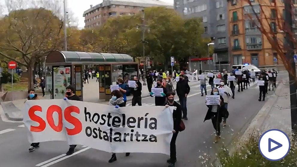 Los hosteleros navarros se manifiestan en Pamplona y piden un «rescate inmediato y real»