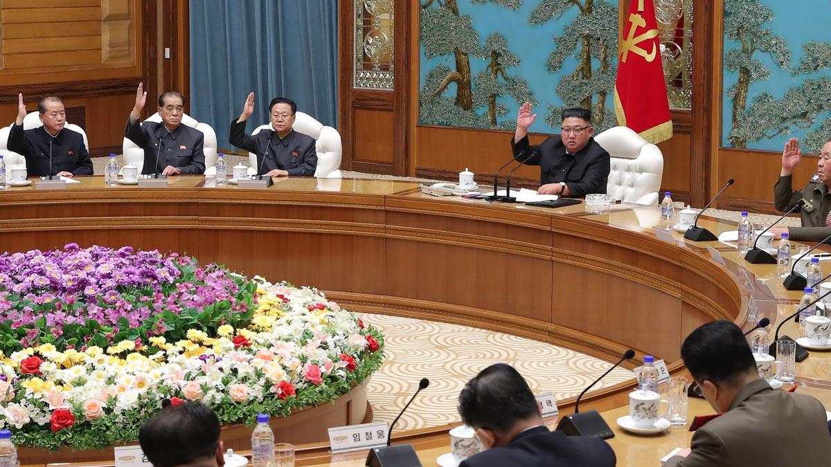 Kim jong Un en una reunión del Partido de los Trabajadores, el partido único de Corea del Norte. Foto: EP