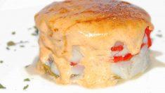 Receta de Timbal de bacalao con pimiento caramelizado