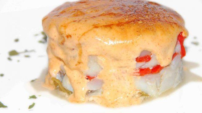 Timbal de bacalao con pimiento caramelizado