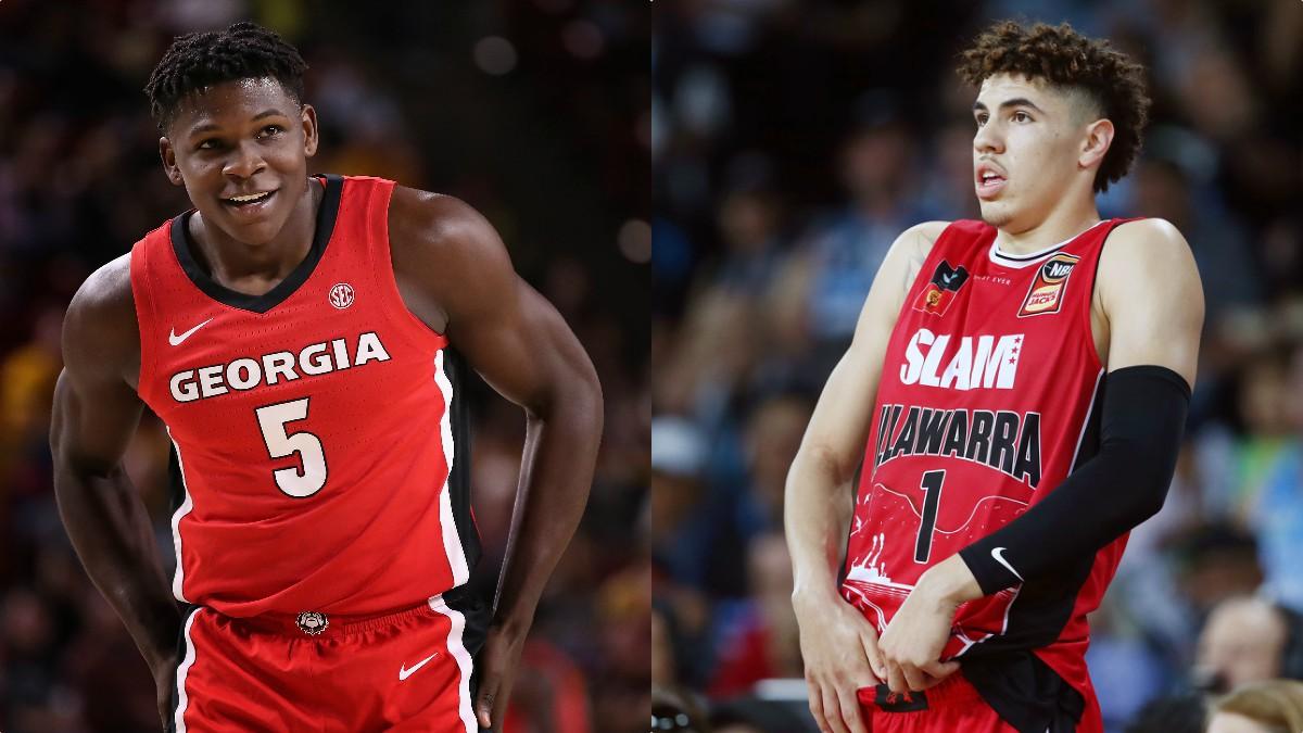 Anthony Edwards y LaMelo Ball, favoritos en el Draft 2020 de la NBA. (Getty)