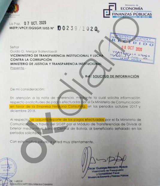 Carta sobre los pagos de Evo Morales a la consultora de Podemos firmada por el nº2 del ministro de Economía de Bolivia.