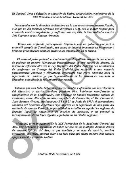 Mandos del Ejército del Aire envían una carta al Rey alertando de la «aniquilación de la democracia»