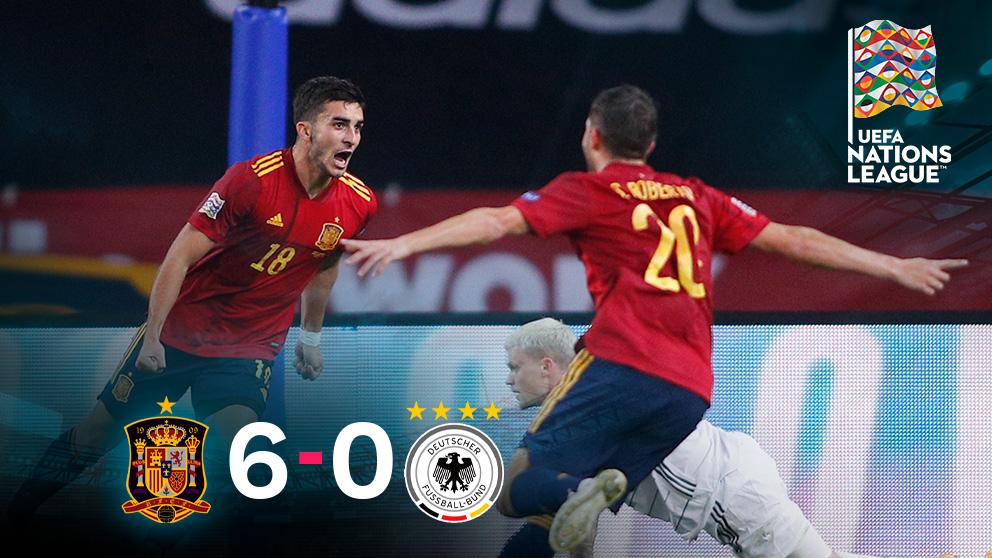 España goleó 6-0 a Alemania en la UEFA Nations League.