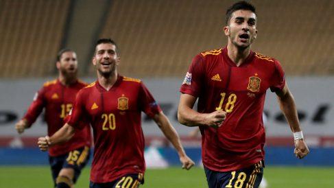 Ferran Torres celebra el 2-0 de España a Alemania. (EFE)