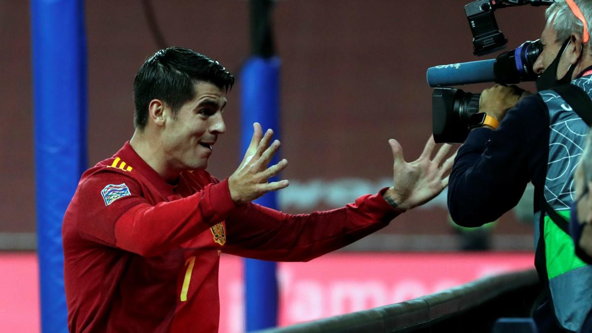 Morata celebra su gol a Alemania. (EFE)