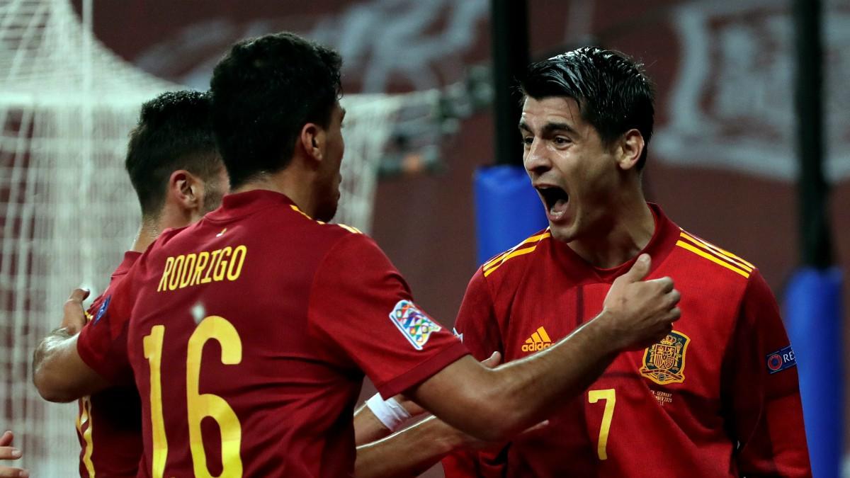 Celebración del gol de Álvaro Morata en el partido ante Alemania (EFE).