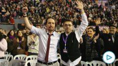 Pablo Iglesias y Juan Carlos Monedero durante el Congreso de Podemos de 2017. (Foto- Europa Press)