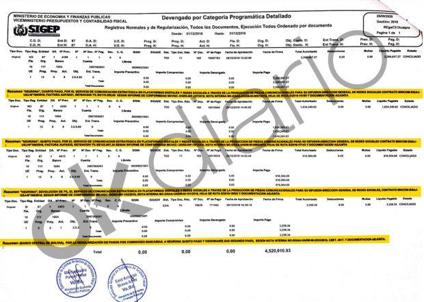 Tabla de las transferencias de los pagos de Evo Morales a la consultora Neurona, vinculada a Podemos, obtenida del sumario del caso en Bolivia.