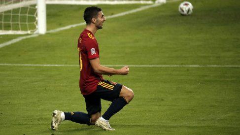 Ferran Torres celebra uno de sus tres tantos ante Alemania. (Getty)