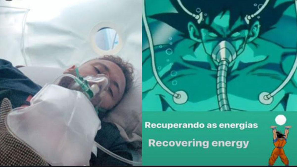 Imagen compartida por Neymar comparándose con Goku en la cámara hiperbárica