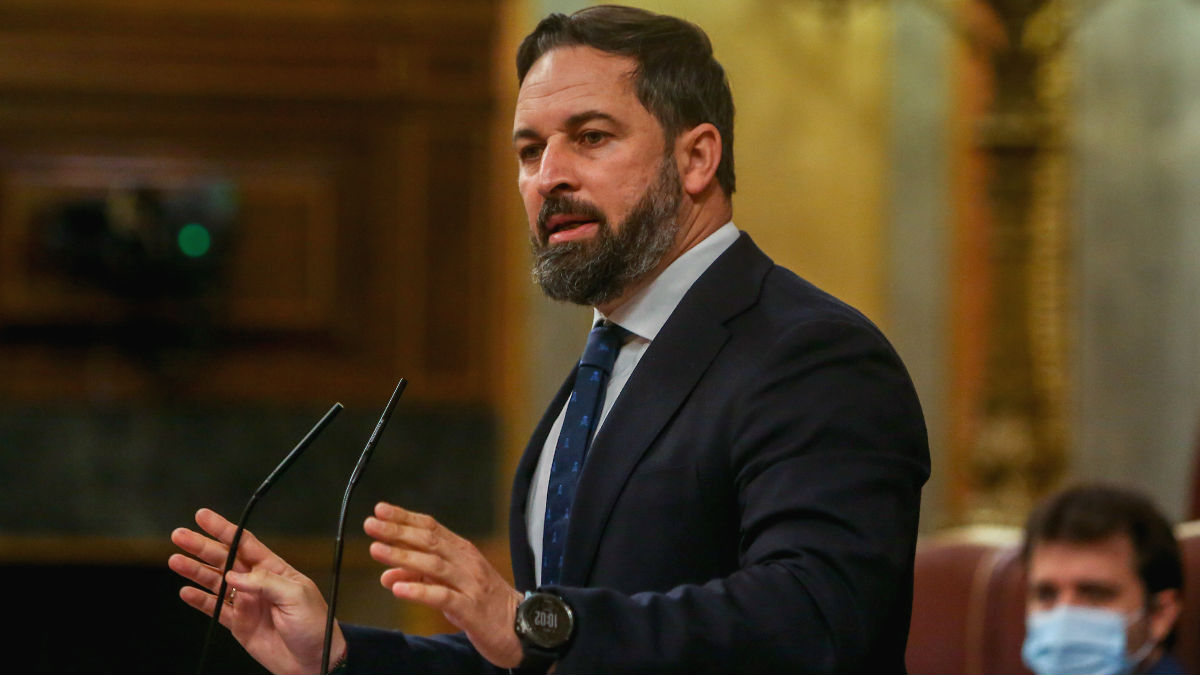 El líder de Vox, Santiago Abascal, durante una intervención en el Congreso de los Diputados. (Foto: Europa Press)