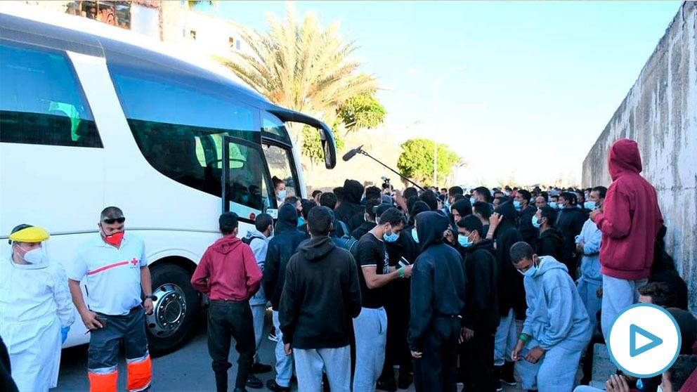 La alcaldesa de Mogán contrató autobuses para trasladar a los 227 inmigrantes ilegales expulsados por Interior de Arguineguín.