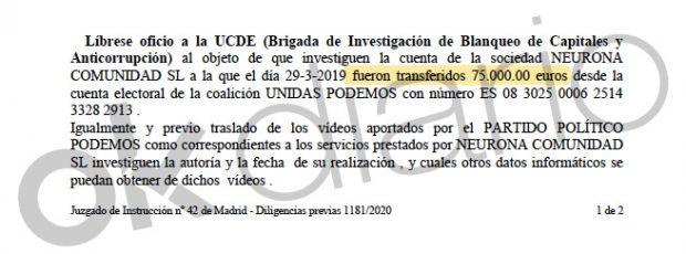 El juez pide a la UDEF que investigue dónde están 75.000€ desaparecidos de las cuentas electorales de Podemos