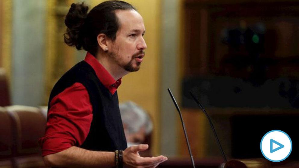 El vicepresidente comunista del Gobierno y líder de Podemos, Pablo Iglesias, en el Congreso. (Foto: EFE).