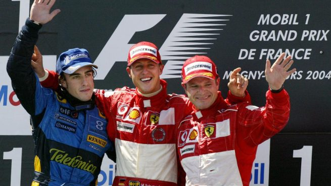 Fernando Alonso, Michael Schumacher y Rubens Barrichello