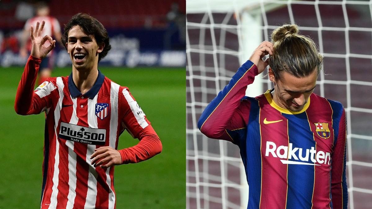 Joao Félix y Antoine Griezmann se verán las caras en el Atlético de Madrid-Barcelona.