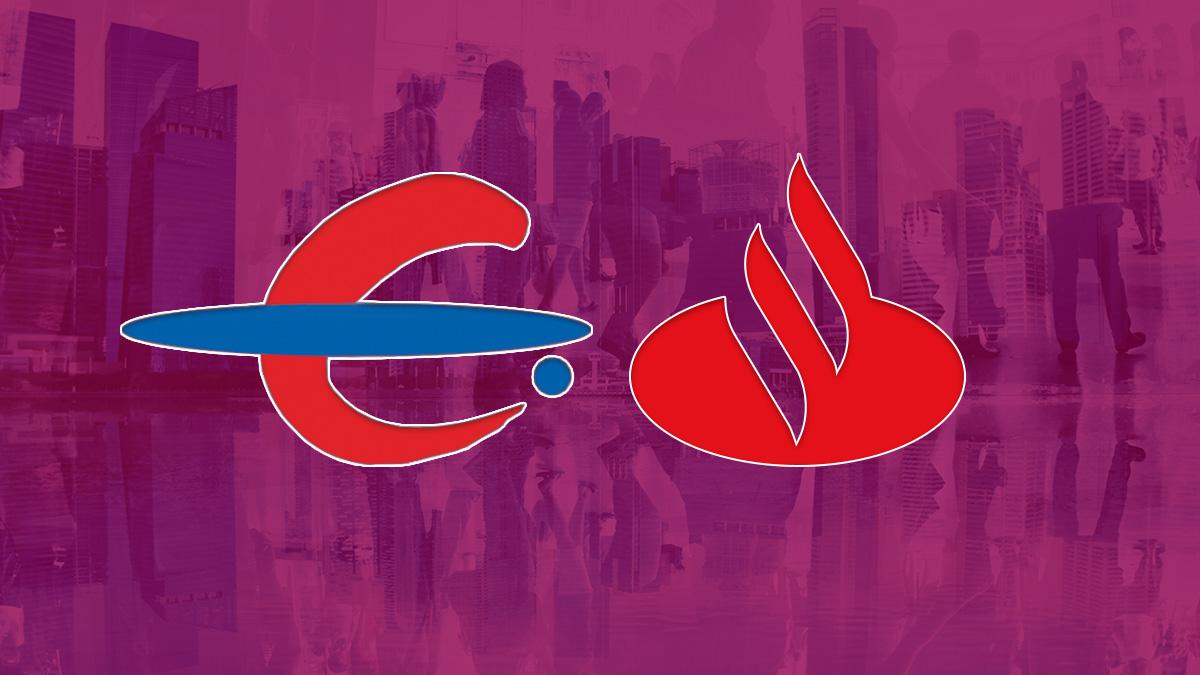 Logos de Ibercaja y Banco Santander.