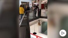 YouTube: Roban dos jamones y un televisor en un supermercado de Guadalajara usando una cuerda.