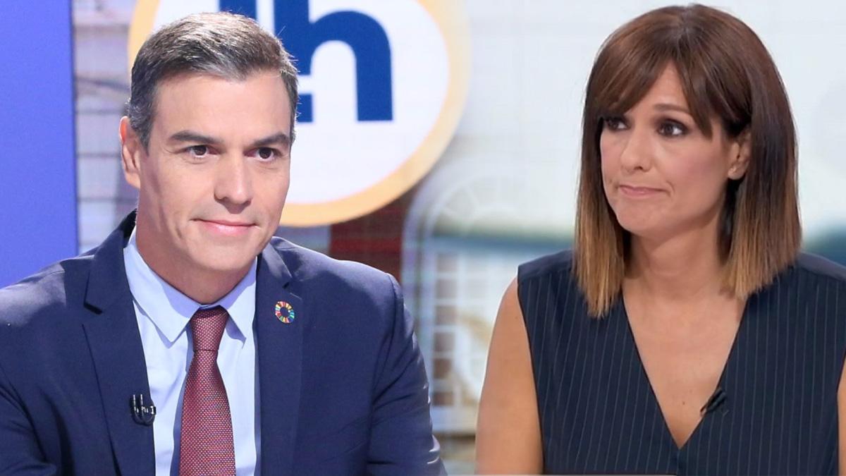 La presentadora del programa matina de TVE, Mónica López, junto a Pedro Sánchez.