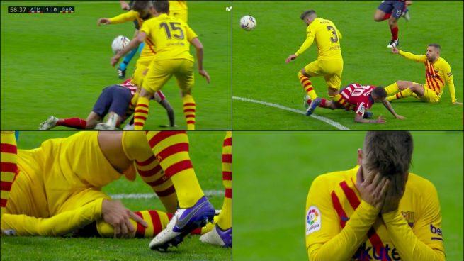 Piqué se marchó lesionado y entre lágrimas tras doblarse la rodilla |  Atlético de Madrid - Barcelona