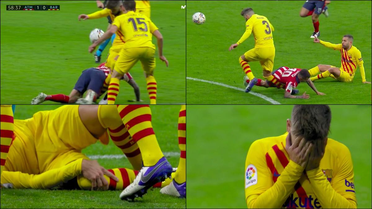 Secuencia de la lesión de Piqué contra el Atlético.