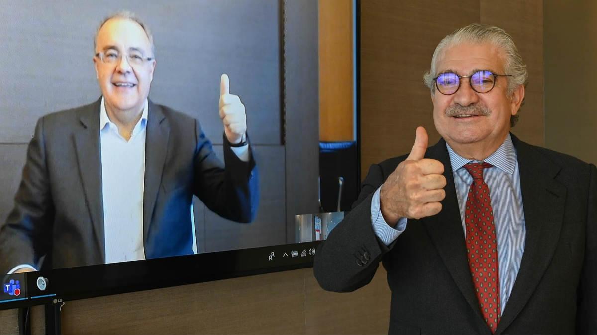 El CEO de Cellnex, Tobías Martínez (izquierda), y el CEO de Endesa, José Bogas