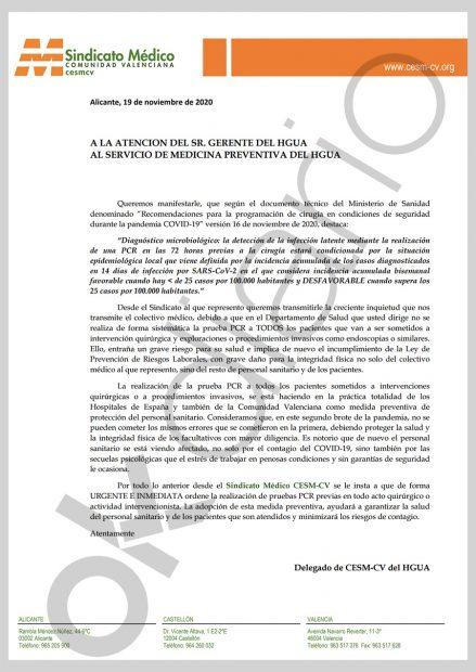 Sindicatos médicos denuncian que en la Comunidad Valenciana se hacen operaciones sin PCR a los pacientes