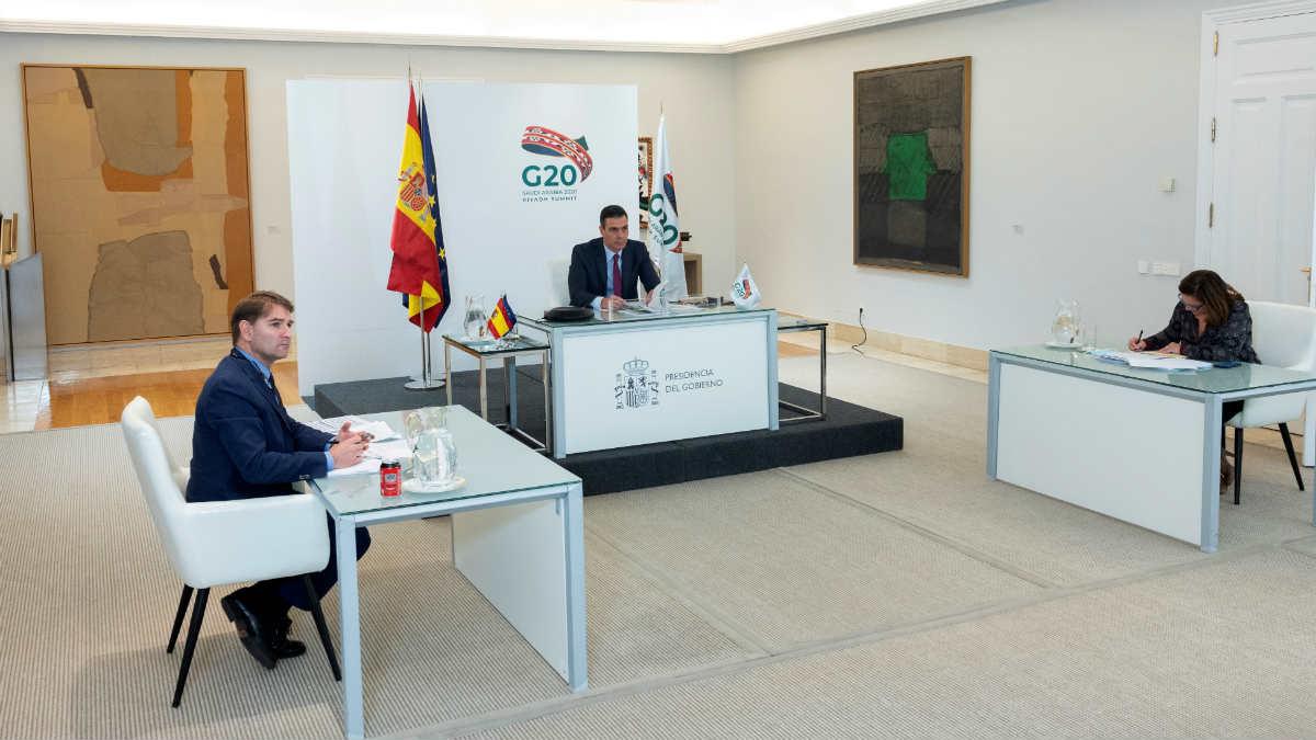 Pedro Sánchez en la reunión telemática del G20