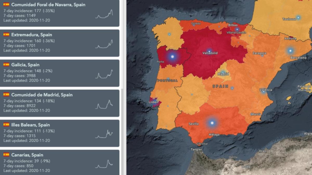 Mapa de la OMS sobre la evolución del riesgo de contagio en España.