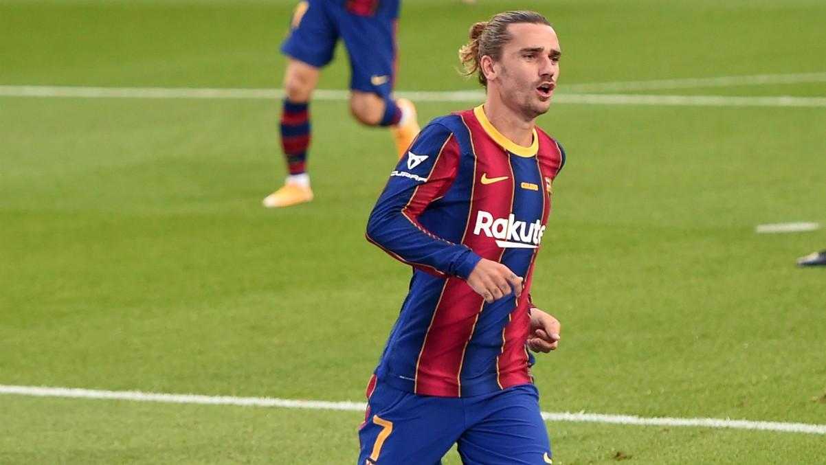 Antoine Griezmann celebra un gol con el Barcelona. (Getty)