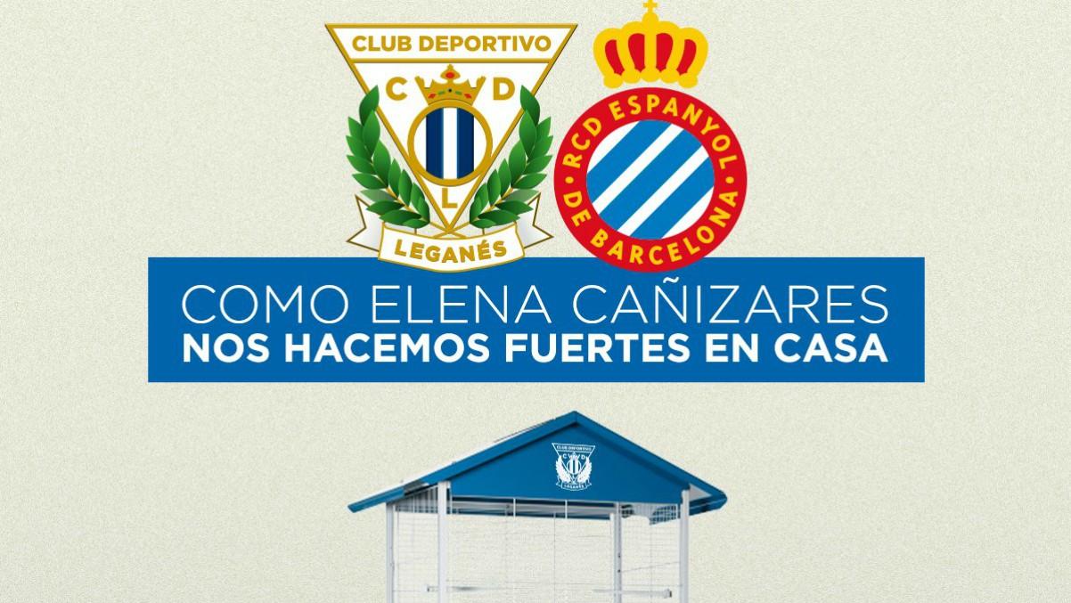 El cartel del Leganés antes del choque frente al Espanyol en honor a Elena Cañizares. (@CDLeganés)