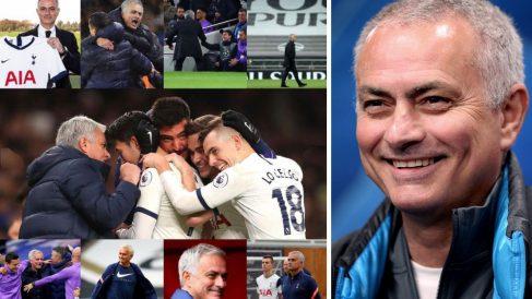 Imagen compartida por José Mourinho tras su primer año en el Tottenham (Instagram) y el técnico portugués en un partido (AFP)