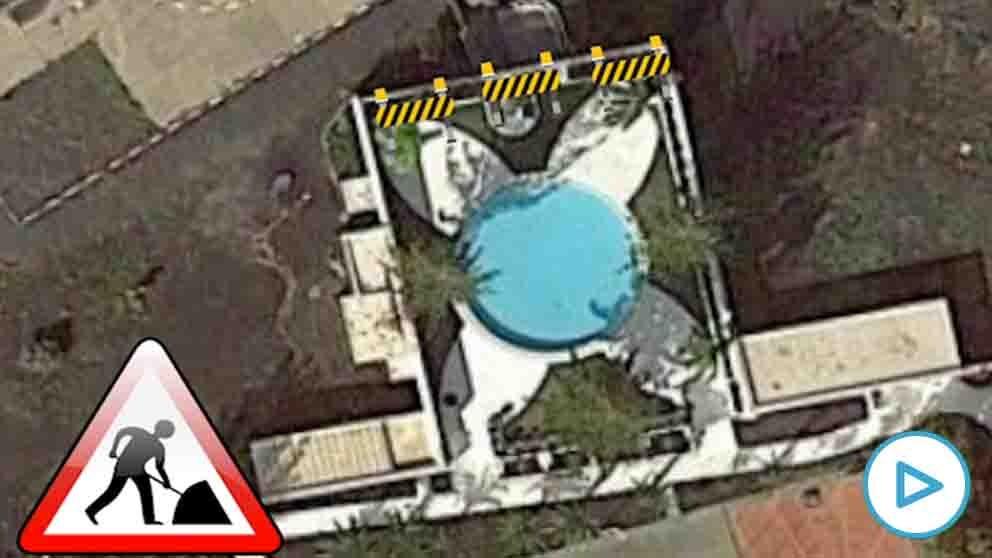 Vista aérea de la piscina de La Mareta, la residencia vacacional del presidente Sánchez en Lanzarote.
