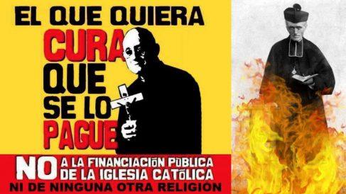 ALgunas de las imágenes que acompañan al hashtag #FuegoAlClero que se ha convertido en tendencia en Twitter.