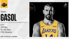 La ficha de presentación de Marc Gasol con los Lakers.