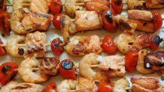 Receta de Brochetas de salmón marinado en soja