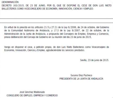 Renuncia de Luís Nieto Ballesteros, autorizada por Susana Díaz.