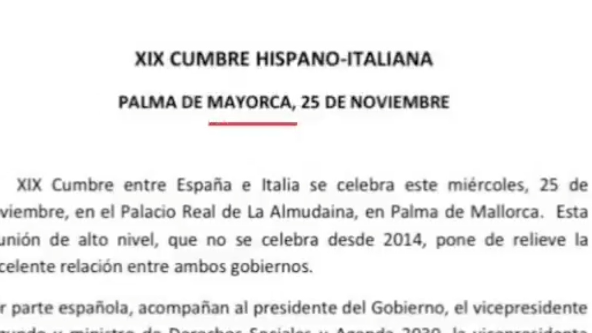 La falta de ortografía de La Moncloa en una nota de prensa.
