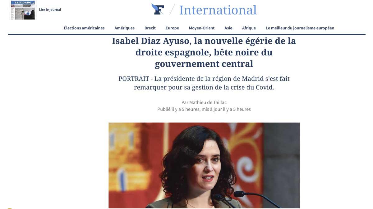 Artículo de Le Figaro sobre Isabel Díaz Ayuso.