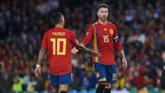 Sergio Ramos y Thiago, juntos en la selección española. (Getty)