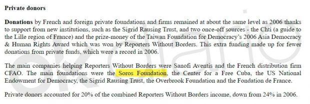 Reporteros Sin Fronteras (RSF) reconoce haber sido financiado por George Soros.