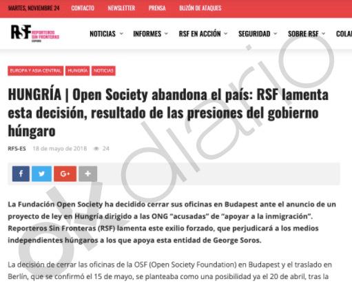 La página web de Reporteros Sin Fronteras (RSF) recoge el comunicado en defensa de Open.