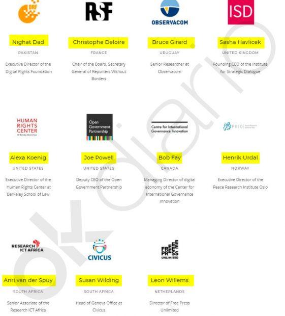 Las 11 ONG internacionales que conforman el Foro sobre Información y Democracia.