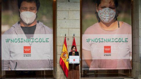 Isabel Díaz Ayuso durante un acto con representantes de fundaciones y familias con niños con necesidades educativas especiales celebrada este miércoles en la Real Casa de Correos en Madrid.