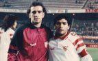 Monchi y Diego Armando Maradona