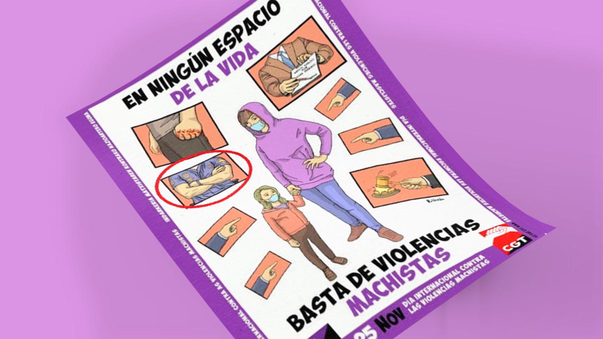 La CGT coloca en un cartel contra la Violencia Machista el dibujo de un policía de brazos cruzados.