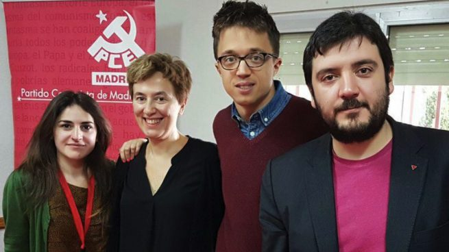 La concejal de Arganda del Rey, Clotilde Cuéllar (segunda por la izquierda) junto a Íñigo Errejón (Más País) y Álvaro Aguilera (IU). (Foto: IU)